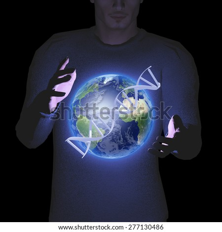 Man with earth and DNA strand - stock photo