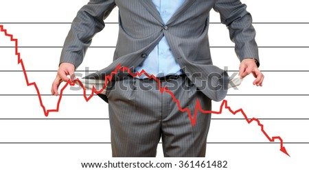 Man with empty pockets and financial graph on white background - stock photo