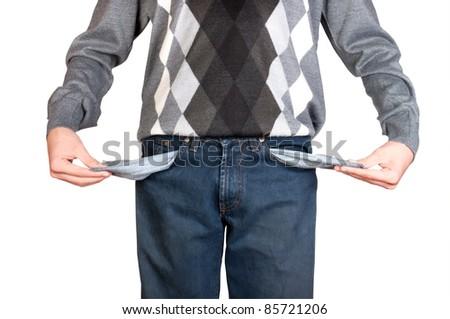 man with empty pockets, isolated on white background. Studio shot - stock photo