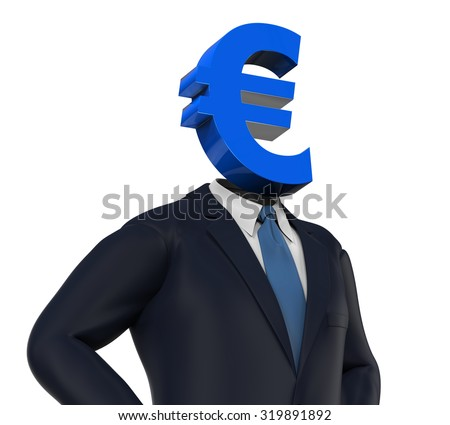 Man with Euro Symbol Head - stock photo