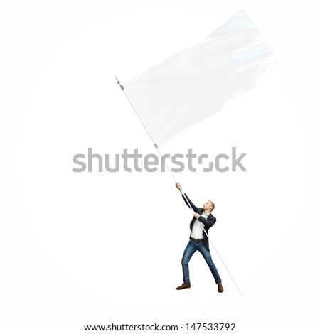Man with flag isolated on white - stock photo