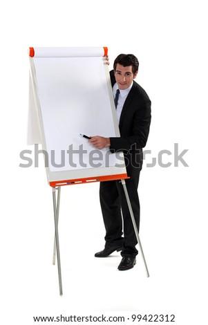 Man with flipboard - stock photo