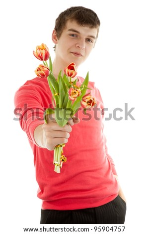Man with flowers on white background - stock photo