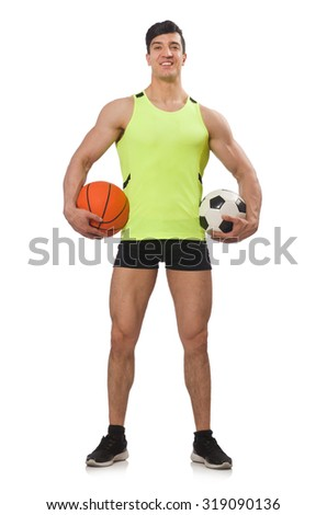 Man with football and basketball
