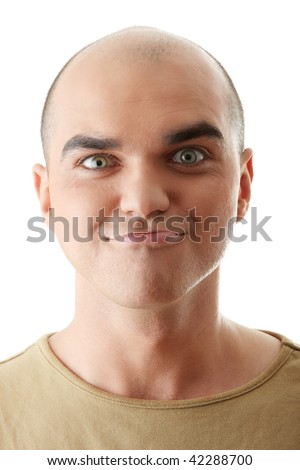 Man with funny facial expression isolated - stock photo