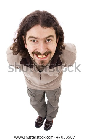 Man with funny facial expression isolated on white - stock photo