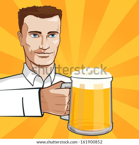Man with glass of beer - stock photo