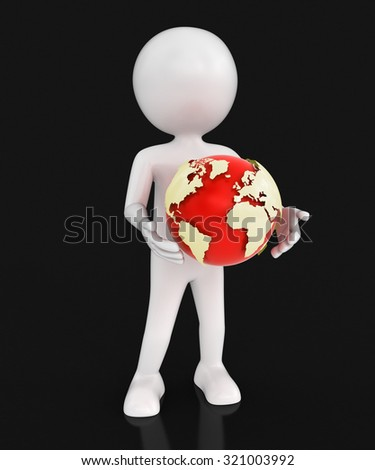 Man with globe. Image with clipping path Elements of this image furnished by NASA - stock photo