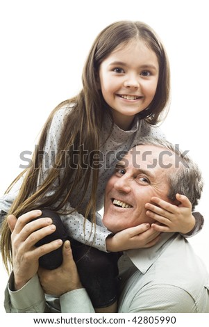 man with granddaughter on white - stock photo