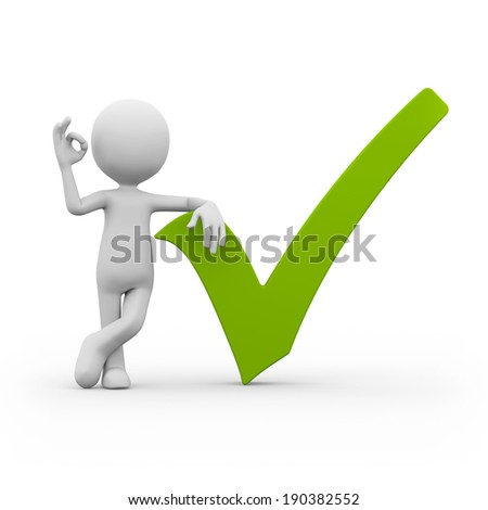 Man with green check mark isolated on white background - stock photo
