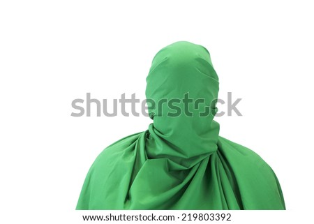 Man with green coat on white background - stock photo