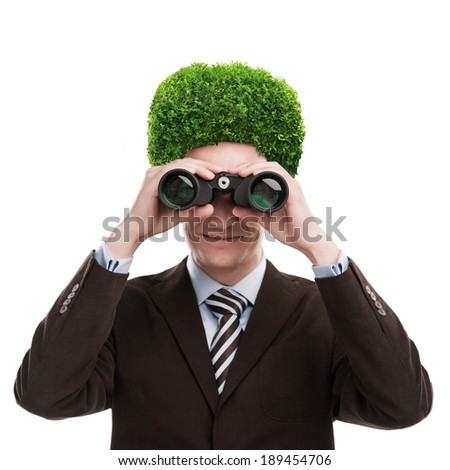 Man with greenery on his head. Loving nature and taking care of ecology concept. Isolated on white background - stock photo