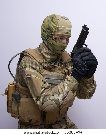 man with gun from special forces - stock photo