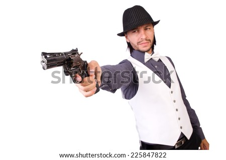 Man with gun isolated on the white - stock photo