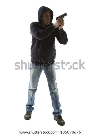 man with gun portrait over isolated background. Full body - stock photo