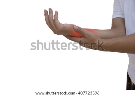 man with hand injury on white background