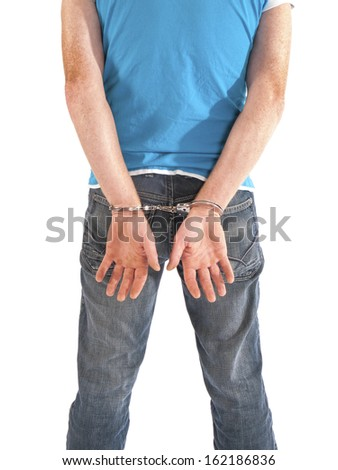man with handcuffs on his back