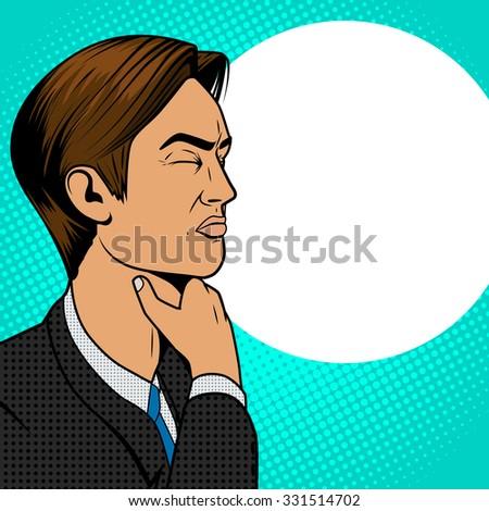 Man with hard sore throat old comic book pop art retro style raster illustration - stock photo