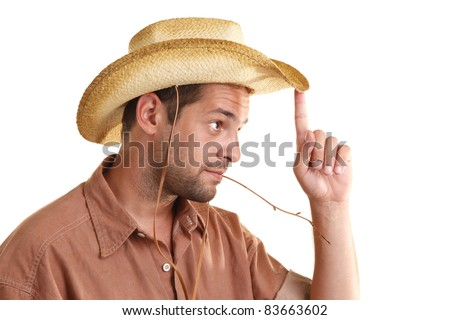Man with hat and straw in mouth