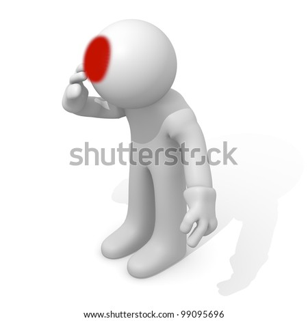 Man with headache, 3d image