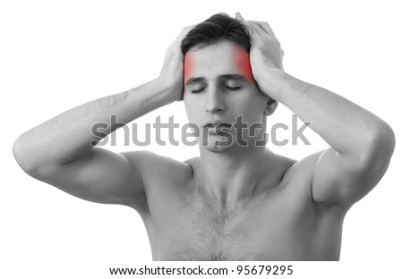 man with headache on white background, isolated on white background, monochrome photo with red as a symbol for the hardening - stock photo