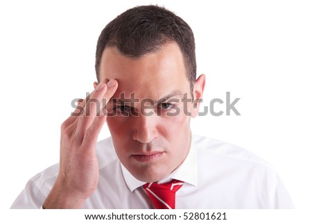 man with headache on white background. Studio shot. - stock photo
