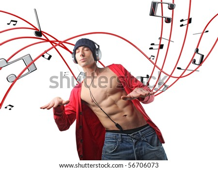 man with headphone and 3d music background - stock photo