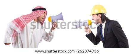Man with helmet and loudspeaker on white - stock photo