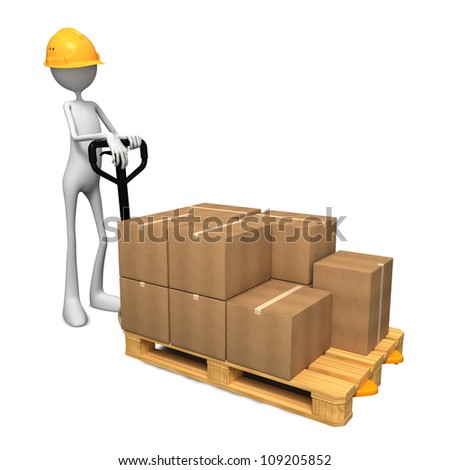 Man with Helmet and Pallet Truck. - stock photo