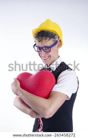 Man with helmet on white background - stock photo