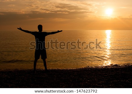 Man with his arms outstretched at the beach looking at sunset - stock photo