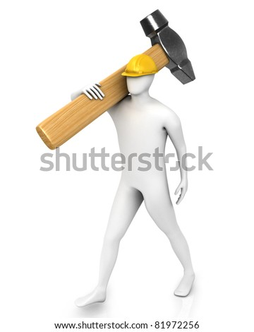 Man with huge hammer isolated on white background - stock photo