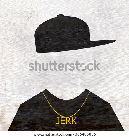 man with jerk necklace on wood grain texture - stock photo