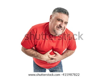 Man with knee pain. People, health-care and problem concept - unhappy man suffering. White background. - stock photo