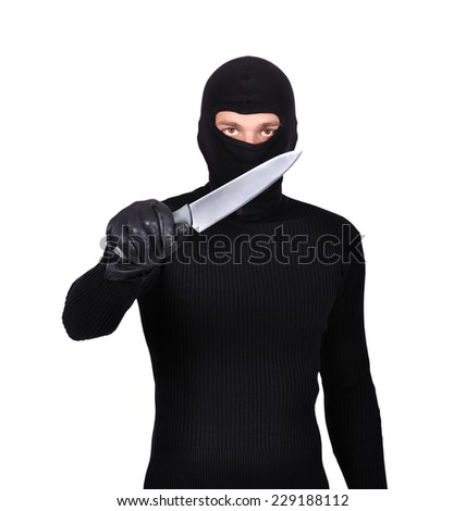 man with knife on a white background - stock photo