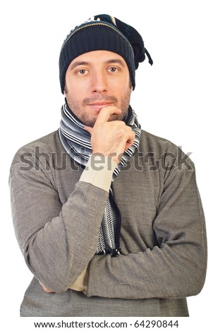 Man with knit cap and scarf thinking and holding hand to chin isolated on white background