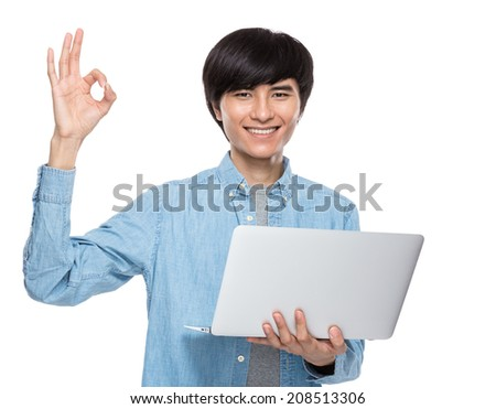 Man with laptop computer and ok sign