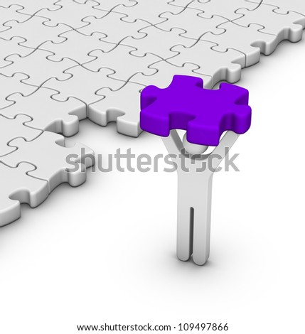 man with last jigsaw piece for puzzle pavement
