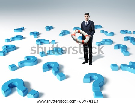 man with life bouy and 3d question mark background - stock photo