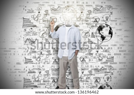 Man with light bulb head asking question against wall of graphs and data