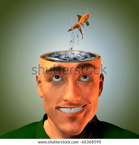 Man with living liquid mind - stock photo
