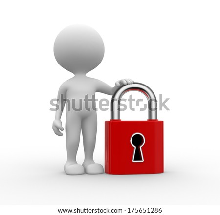 man with lock - stock photo