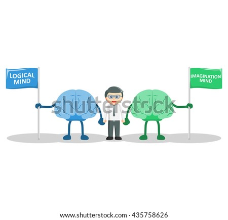 Man with logical and Imagination mind - stock photo