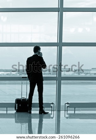 Man with luggage in the airport