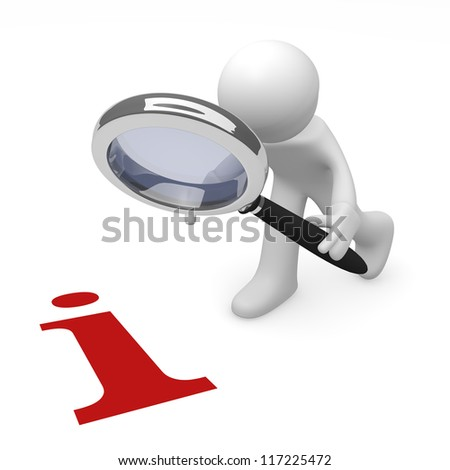 Man with magnifying glass and red information icon