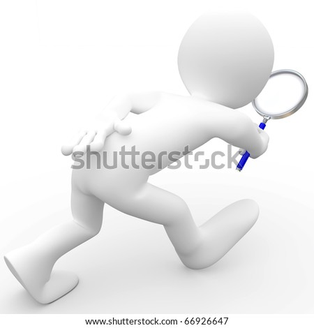 Man with magnifying glass looking for - stock photo