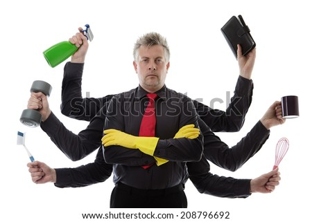 Man with many arms getting ready to do a spring and other jobs - stock photo
