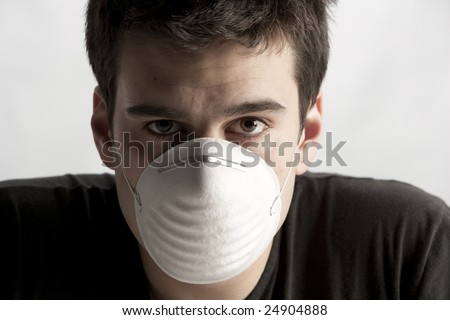 man with mask - life in today's world, pollution concept - stock photo