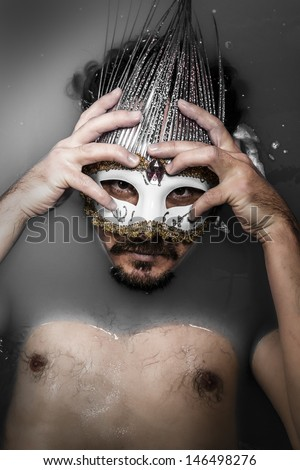 Man with mask, melancholy and suicide, sadness and depression concept - stock photo