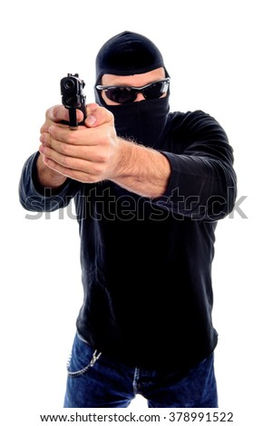 Man with mask, sunglasses and gun isolated on a white background - stock photo